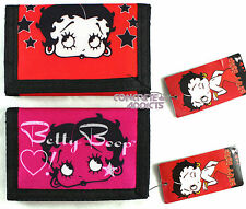 BETTY BOOP Hook & Loop  Velcro Tri-Fold Wallet Available in Red or Hot Pink New