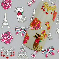 Fashion 3D Eiffel Tower Cat Bow Rose Design Nail Art Stickers Decals Tips 092#
