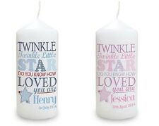 Personalised Twinkle Candle New Baby Boy Girl Unique Gift Christening Present 1