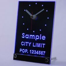 tnct-tm Personalized Custom City Limit With Population Neon Led Table Clock