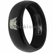 8mm Black Dome Tungsten Carbide Ring Silver Laser Etched Transformers Decepticon