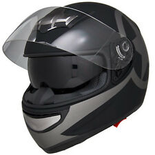Matte Black Star Air Pump Full Face Dual Visor DOT Motorcycle Helmet - S/M/L/XL