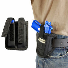New Barsony Ambi Pancake Holster + Dbl Mag Pouch Ruger Kel-Tec Mini-Pocket 9mm