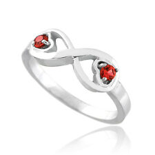 White Gold Infinity Birthstone CZ Infinity Ring Available in all 12 Month Colors