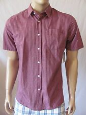 New VOLCOM Mens Red Casual Button Front Why Factor Stripe S/S Woven Shirt $54