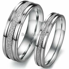 Silver Frosted Stainless Steel Ring Couples Love Promise Engagement Wedding Band