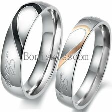 """Stainless Steel Matching Heart Shape """" Real Love """" Promise Ring Wedding Band"""