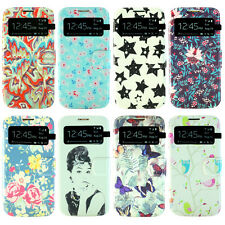 SLIM FLIP COVER FLORAL SMART WINDOW LEATHER PHONE CASE FOR SAMSUNG S4, S4 mini