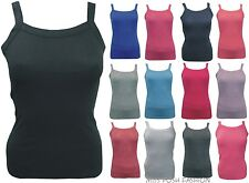 BNWT LADIES GIRLS WOMENS PLAIN CAMI RIBBED STRAPPY VEST T-SHIRT TOP SIZE:8 TO 14