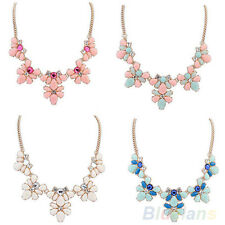 Womens Crystal Resin Flower Statement Metal Chain Choker Necklace Pendant B74U