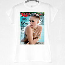 Miley Cyrus Smiley Miley RollingStone 100% cotton t-shirt, tops,Ladies,womens