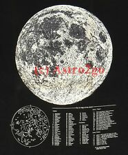 GLOW MOON & MAP--Astronomy Lunar Craters Mare Apollo Space Science T shirt S-3XL