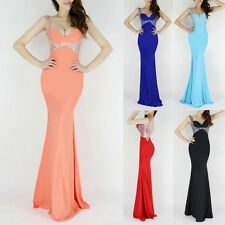 2014 Beads Sexy Slim Long Mermaid Cocktail Evening Formal Prom Dress Party Gown
