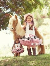 "Girls & 18"" Doll Pettiskirt Tutu Pink Cowgirl Boots Tank Top Costume Outfit 1-7Y"