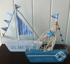 NAUTICAL WOOD BOAT DECORATION GONE FISHING & SAIL AWAY WITH ME BATHROOM DECOR