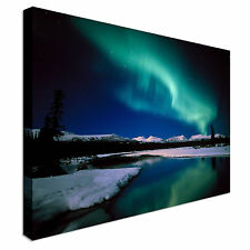 Landscape northern lights lake view Canvas Wall Art Print Large + Any Size