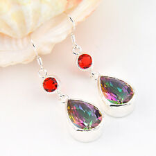 Gentle Beautiful Rainbow Fire Mystical Topaz Gems Silver Lady Earrings Jewelry