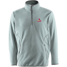 Antigua Men's St. Louis Cardinals Ice Polar Fleece 1/4 Zip Silver Pullover