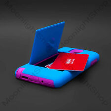 Samsung Galaxy Note 3 N9000 Dual Layer Impact Card Holder Stand Case Blue Pink