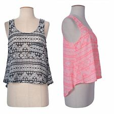 Women Geometric Print Casual Chiffon Sheer Deep Back Cropped Blouse T-Shirt Top