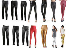 Women Faux Leather High Waisted Leggings Sexy Shiny Stretchy Pants Skinny