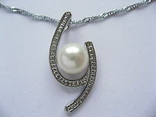 """18"""" 45cm Real Cultured Freshwater Pearl Platinum Plated Pendant Necklace Gift"""