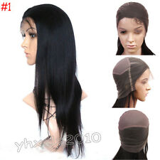 100% Handmade India Remy Human Hair Full Lace Wig Straight small size black #1