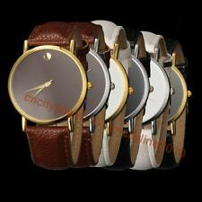 New Fashion Simple Gold Dial Leather Band Men Women Quartz Unisex Wrist Watch