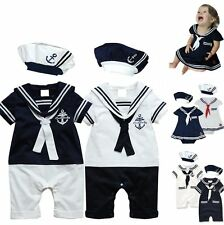 Baby Boy Girl Sailor Carnival Costume Fancy Party Outfit Suit+HAT Set 3-24M