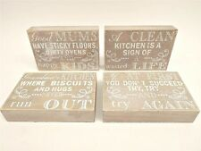 WOOD BLOCK SIGN WHITE GIFT FRIEND MUM GRAN HOME ACCESSORY ORNAMENT LIVING ROOM