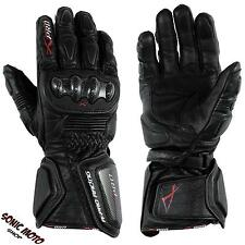 Motorcycle Biker Racing Sports Leather Riding Gloves Protection Knuckles Black