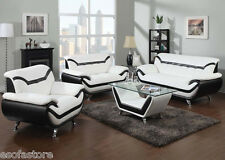 ACME SOFA SET IN WHITE & BLACK PREMIUM BONDED LEATHER FOR YOUR LIVING ROOM