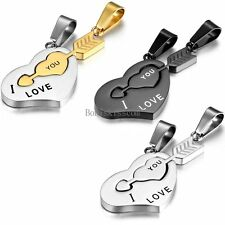 "Stainless Steel Stone Mandrel "" I Love You "" Valentine Couple Pendant Necklaces"