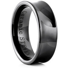 Man's 8mm Wide Black Ceramic Band Comfort Fit Ring High Polish Concaved - CER049