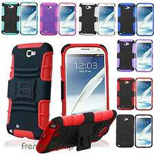 Rugged Hybrid Rubber Stand Hard Soft Cover Case Stylus For Samsung Galaxy Note 2