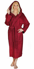 Womens 100% Turkish Cotton Terry Lightweight Hooded Bathrobe BURGUNDY S M L XL