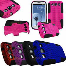 For Samsung Galaxy S III 3 S3 I9300 Dual Layer Hybrid Net Mesh Case Cover Phone