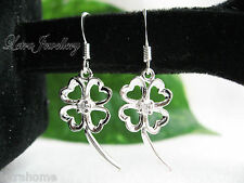 925 Stamped Sterling Silver Hollow Four-Leaves Drop Earrings Jewellery Gifts