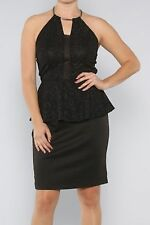 WOMENS CLOTHING SEXY LITTLE BLACK GLITTERY PEPLUM DRESS WITH HALTER NECKLINE