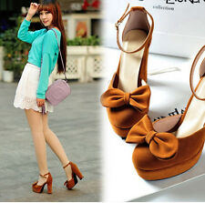 Womens Sweet Bowknot Block High Heel Platform Ankle Strap Mary Janes Pumps Shoes