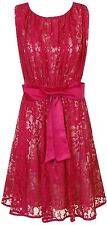 Little Mistress Lace Overlay Bow Front Prom Dress Magenta - UK 8, 10, 12, 14