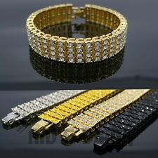 14k Gold Silver Black Canary 4 ROW Iced Out Lab Diamond Tennis Hip Hop Bracelet