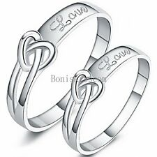 """Silver Tone Infinity Heart Knot """" Love """" Promise Engagement Ring Mens Ladies"""
