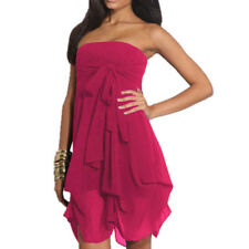 Hitched Chiffon Bubble Hem Convertible Cocktail Party Dress Magenta