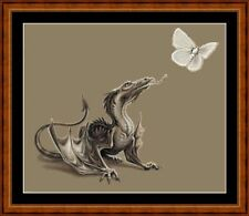 DRAGON WITH BUTTERFLY 14 COUNT CROSS STITCH CHART FREE PP WORLDWIDE