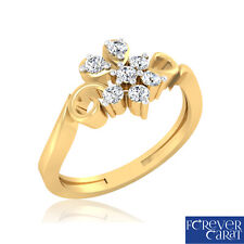0.16Ct Certified Natural & Real White Diamond Ring 14k Hallmarked Gold Jewellery
