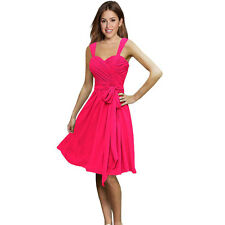 Sweetheart Pleated Chiffon Cocktail Evening Party Bridesmaid Dress Hot Pink