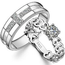 Groom Cross CZ Bride Open Heart link Silver Tone Ring Eternity Love Wedding Band