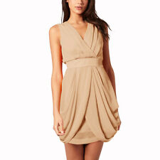 Sleeveless V Neck Draped Chiffon Cocktail Party Day Dress Club Wear Latte