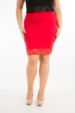 Ladies Plus Size Skirt With Contrast Lace Detail Formal Casual In Sizes 12-30